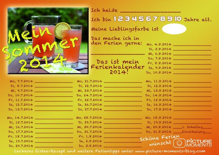 Druckvorlage Ferienkalender